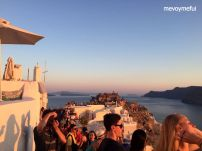 crowds in Oia sunset Santorini