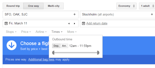 Google Flights Times