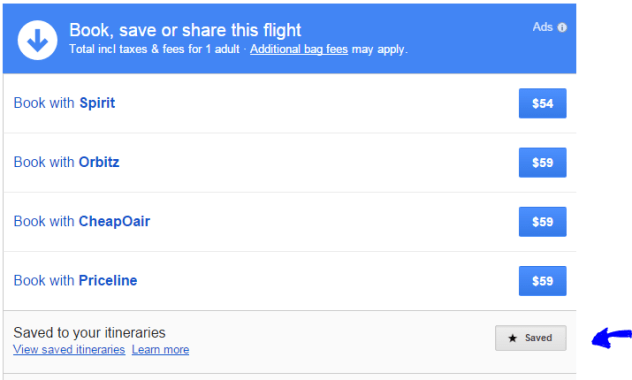 save google flights