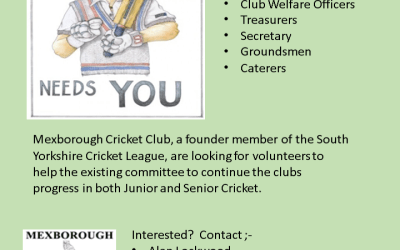 Volunteers Required to help take Mexborough Cricket Club to the next level