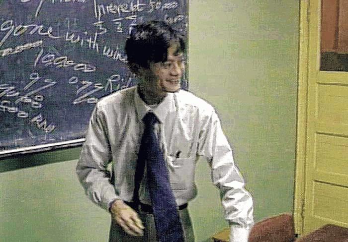 Jack Ma cuando se desempeñaba como profesor de inglés en 1995. Imagen Porter Erisman tomada de ww.wsj.com.