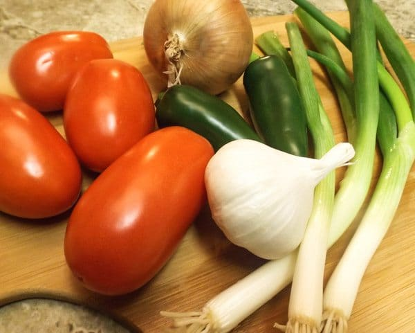 Veggies we are going to use for the Mexican Mussels In White Wine