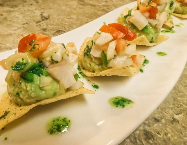 Tilapia Ceviche with Guacomole and Tortilla Chips