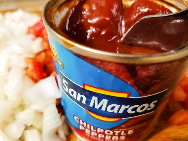 Can of chipotle peppers in adobo sauce for the Smoky Black Bean Chicken Quesadillas