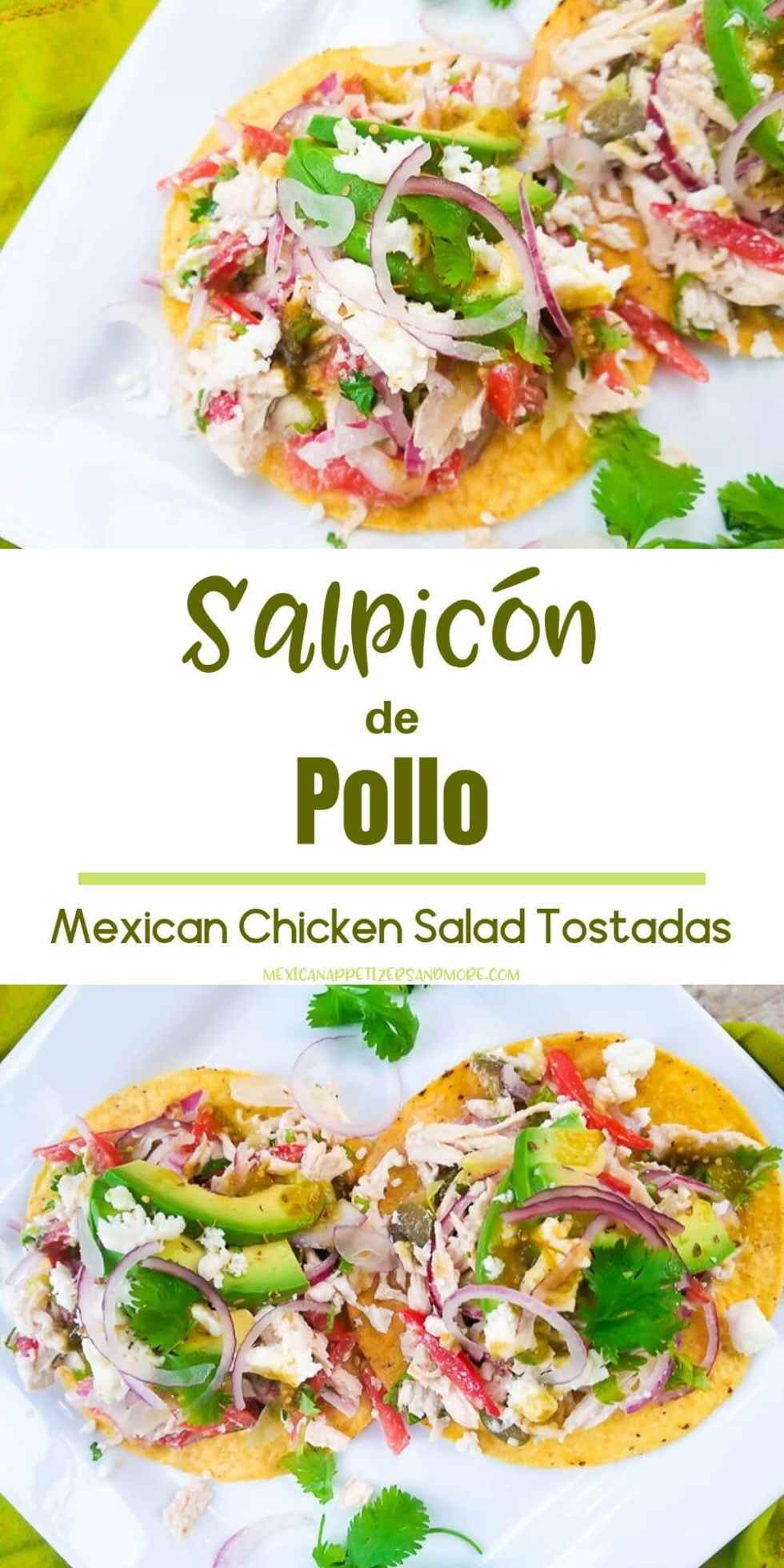 Salpicón de Pollo (Mexican Chicken Salad) is a delicious chicken salad dressed in a tasty lime vinaigrette.  This dish is perfect as an appetizer, snack or dinner and it is a great dish for entertaining.  You will love Salpicón! #salpicondepollo #salpicondepollomexicano #salpicondepollorecipe #salpiconrecipe #salpiconrecipemexicano #mexicanchickensaladtostadas #mexicanchickensalad #mexicanchickensaladrecipe #mexicanchickensaladrecipeeasy #tostadas #mexicanappetizersandmore