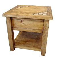 Marble And Solid Wood Rustic End Table | Mexican Rustic ...