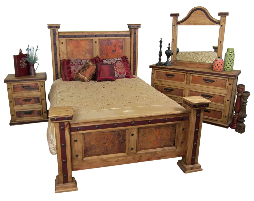 Pounded Copper Rustic Bedroom Set  Mexican Rustic