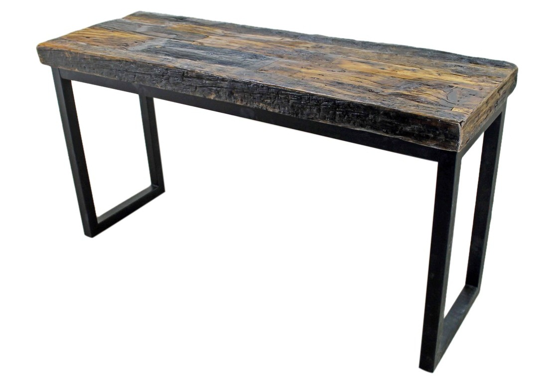 industrial style sofa large chesterfield sofas uk console table mexican rustic furniture