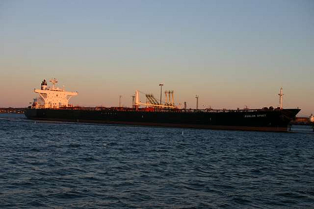 Oil tanker in South Portland by Justin Russell