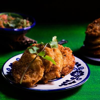 Fried Green Tomatoes with Spicy Mexican Salsa Made in a Molcajete