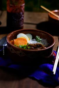 Miso Noodle Soup Spiced with Sriracha by @SpicieFoodie