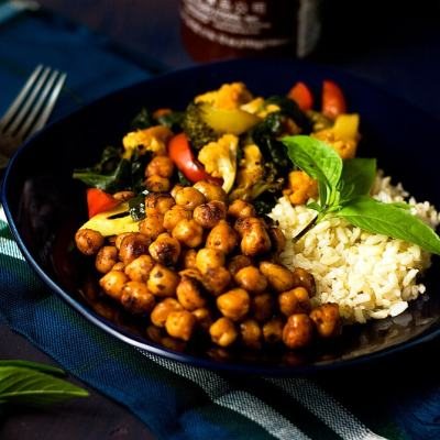 Sriracha Spiced Veggie and Chickpea Rice Bowls