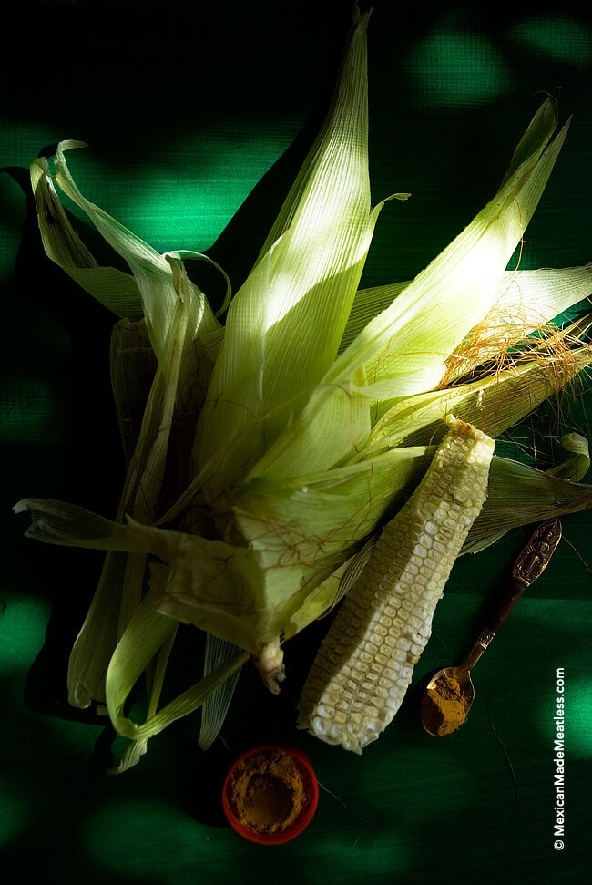 Fresh ears of corn for a special Mexican soup