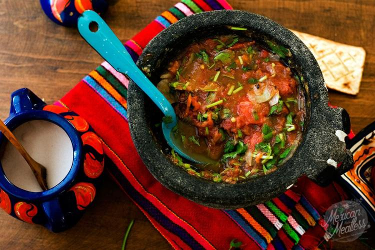 Salsa Molcajeteada | Tomato & Serrano Pepper Salsa Made in a Molcajete (Video Recipe)
