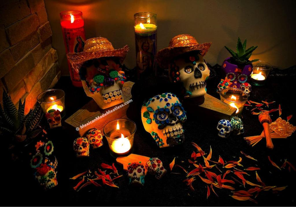 Decorated sugar skulls for Day of The Dead altar by @MexicanMadeMeatless