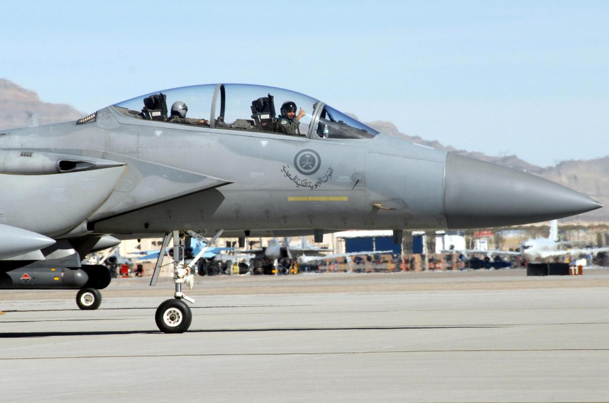 NELLIS AIR FORCE BASE, Nev. – A Royal Saudi air force pilot gives the thumbs-up as he taxis his F-15S to the runway for a Red Flag mission here Feb. 12. Red Flag is a multi-national exercise providing pilots with a realistic environment to practice combat scenarios. The experience gained during Red Flag is vital to the survival of pilots in combat. (U.S. Air Force photo by Chief Master Sgt. Gary Emery)