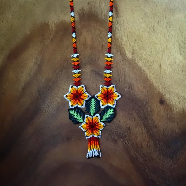 Huichol Shaman Necklace Flower Mexico Amor