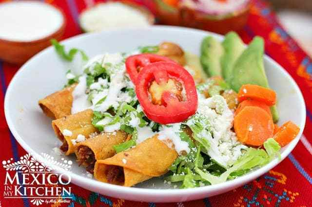 Crispy tacos rolled corn tortillas flautas