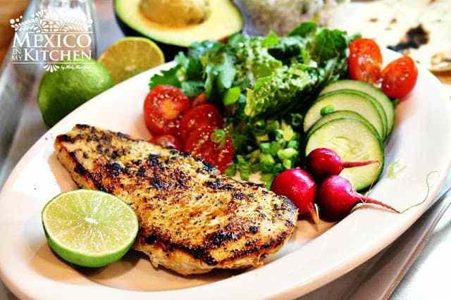 Quick Grilled Chicken dinner- Pollo a la plancha