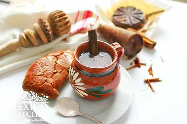Champurrado a thick hot  Mexican masa chocolate drink