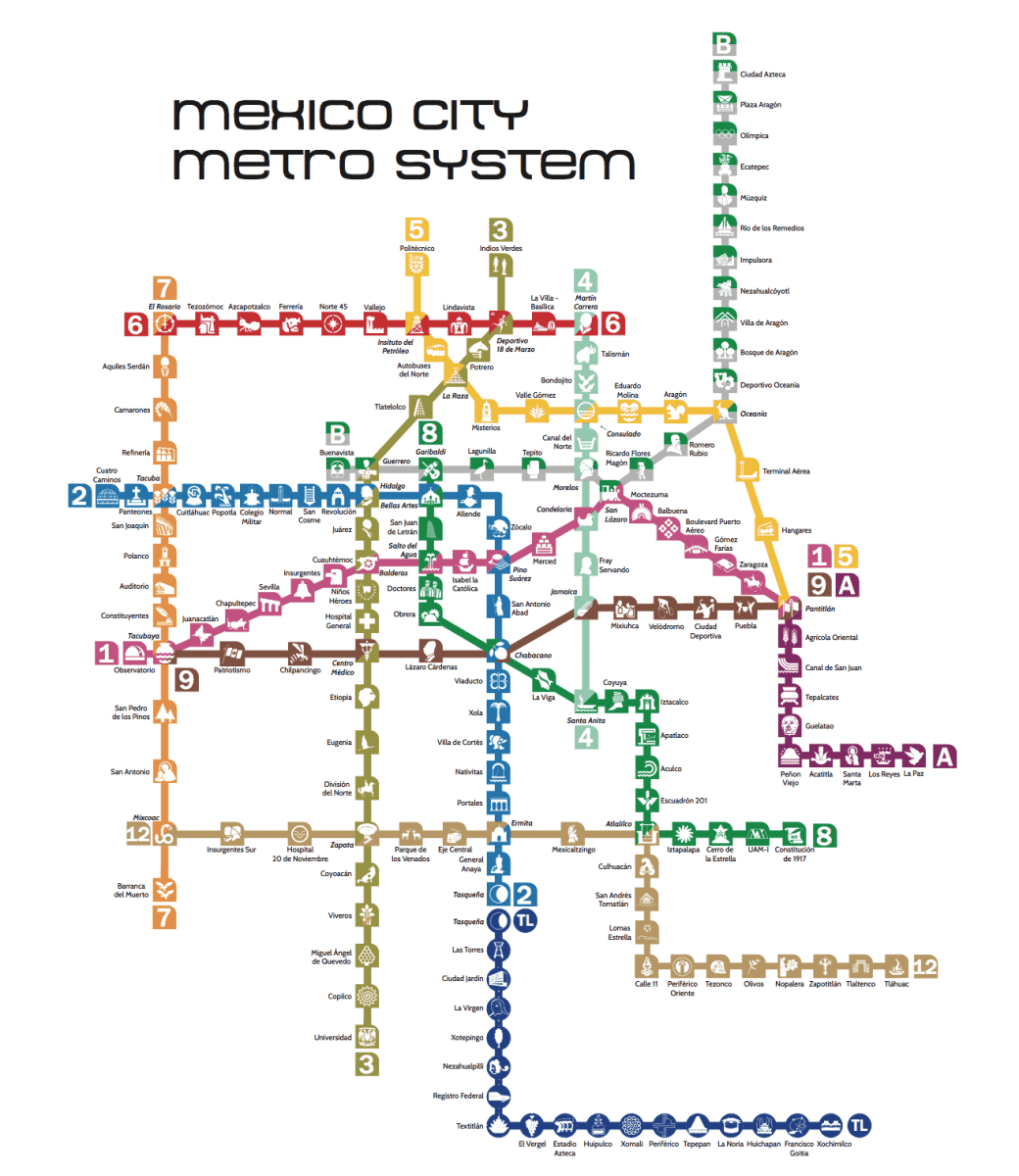 Updated Metro Map Mexico City System