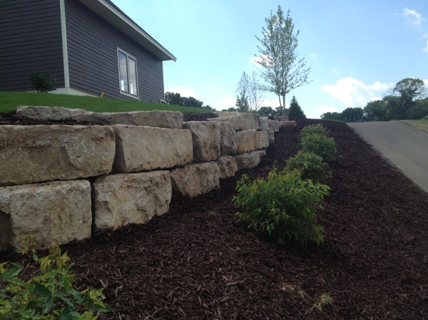 Natural Stone Retaining Wall Construction