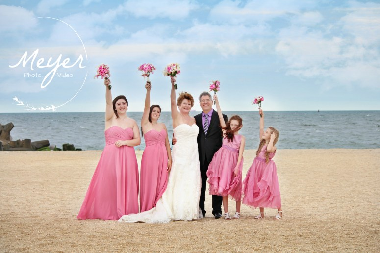 nj beach wedding in point pleasant bridal party pink