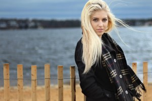 blonde girl hair flowing in wind