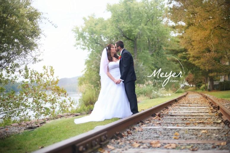 wedding photos on train tracks NJ