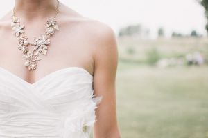 wedding dress and necklace