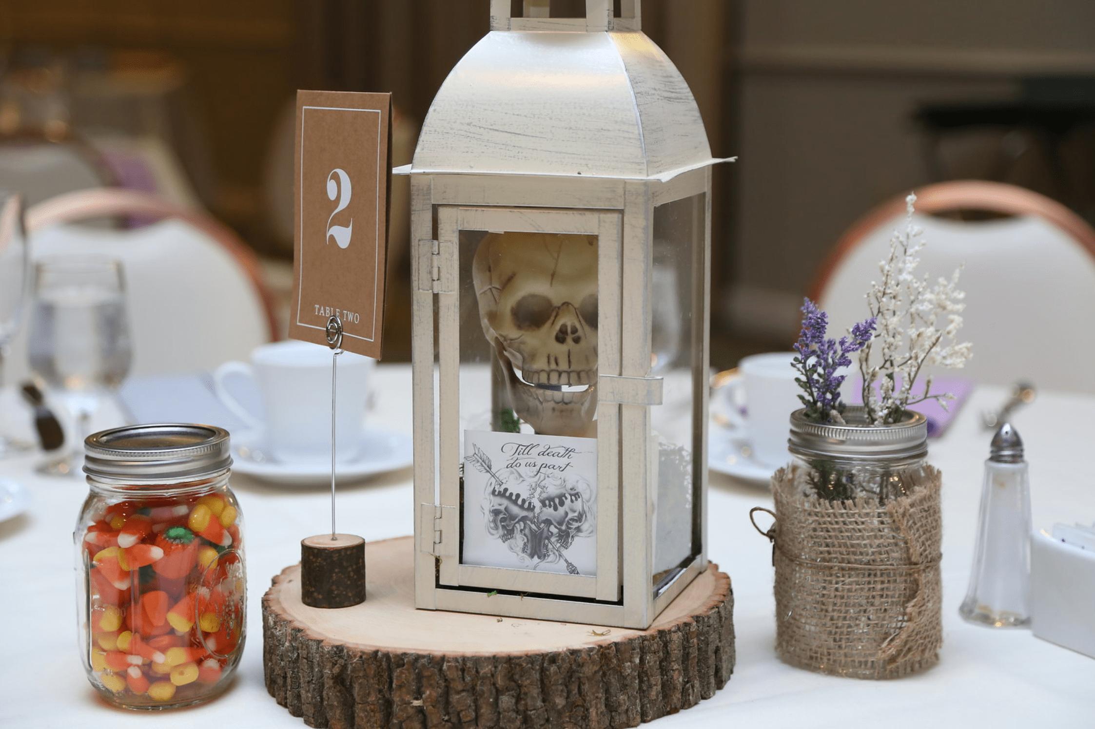 skull wedding centerpiece