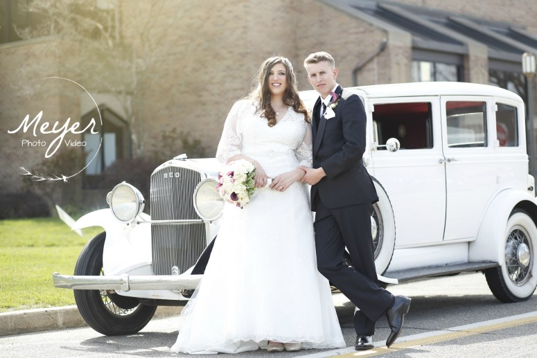 wedding vintage car couple white car