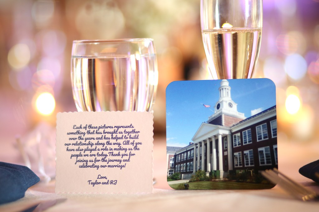 picture of courthouse and thank you card propped up by glasses at wedding in 2019