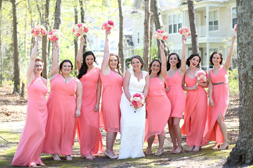 bridesmaids standing in a forest at wedding in 2019
