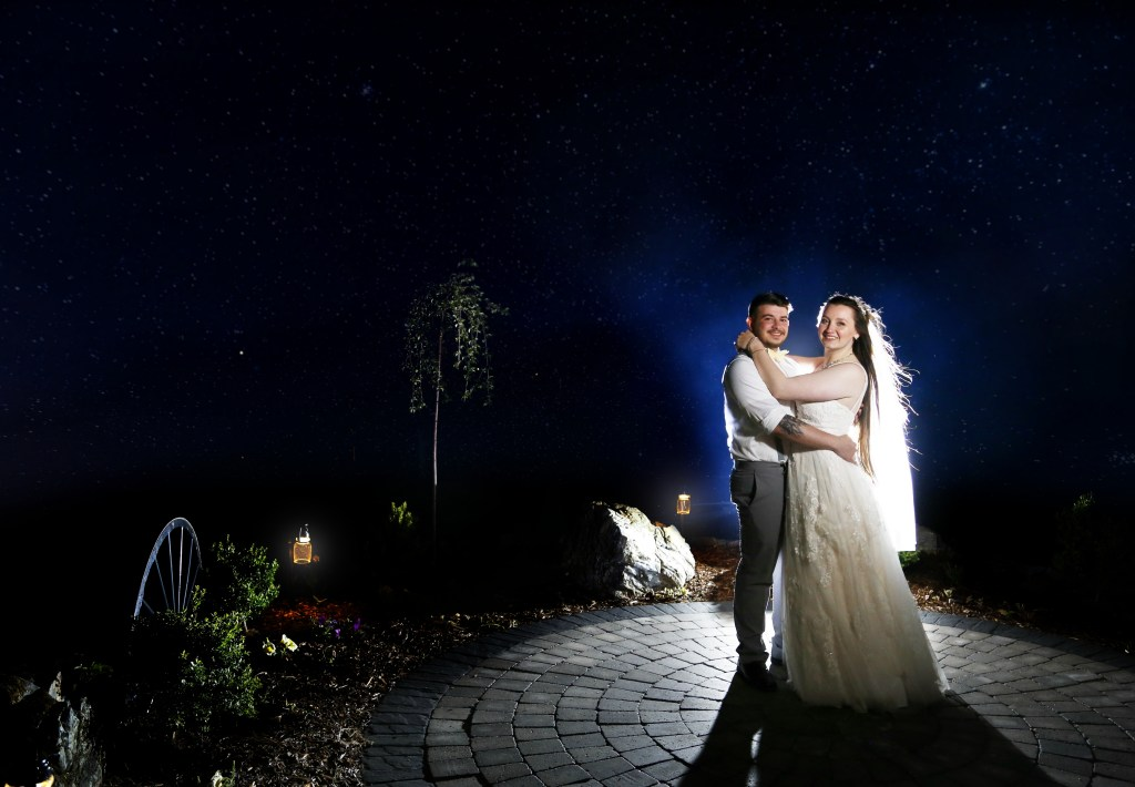 bride and groom dancing at night at NJ farm