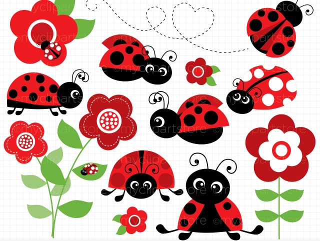 clipart - ladybug garden red
