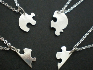 Heart Shaped Jigsaw Puzzle Necklaces Personalized Your