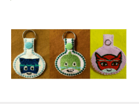 PJ Mask In the Hoop Keychain Set Machine Embroidery ...