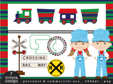 Digital Clip Art All Aboard The Party Train In Red