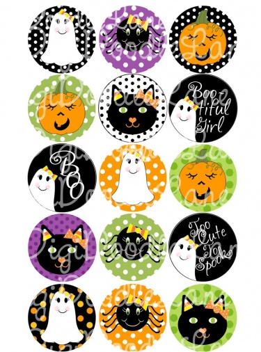 Candy Corn Girly Halloween 1 Inch Circles Collage Sheet