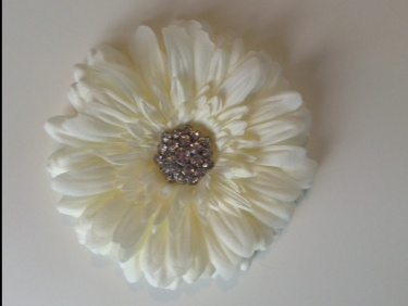 white gerber daisy flower hair clip with crystal rhinestone button center meylah
