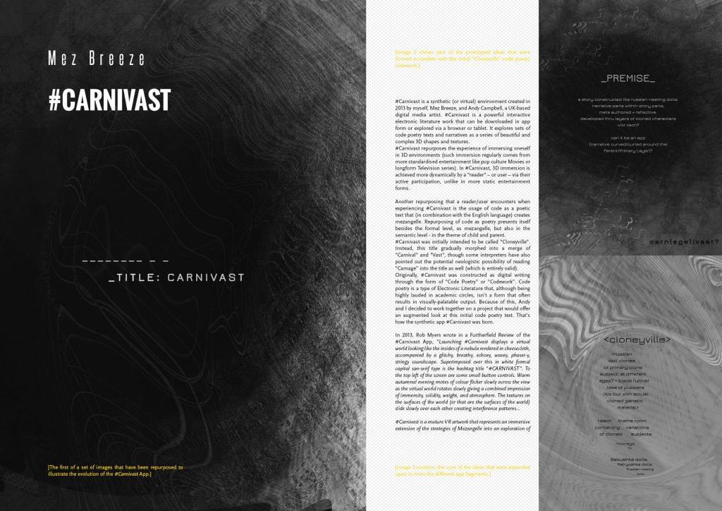 #Carnivast In Repurposing in Electronic Literature
