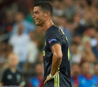 Mandatory Credit: Photo by Bagu Blanco/BPI/REX/Shutterstock (9887223a) Cristiano Ronaldo of Juventus after receiving red card Valencia CF v Juventus, Champions League, Group stage, Group E, date 1. Football, Mestalla Stadium, Barcelona, Spain - 19 SEP 2018