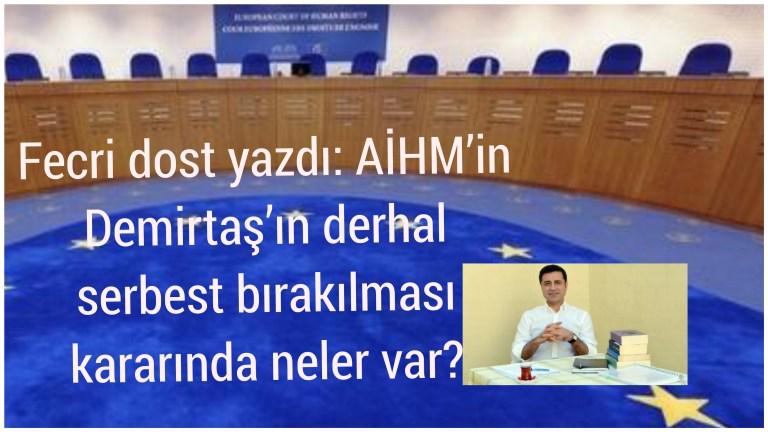 Fecri dost yazdı: AİHM'in Demirtaş'ın derhal serbest bırakılması kararında neler var?