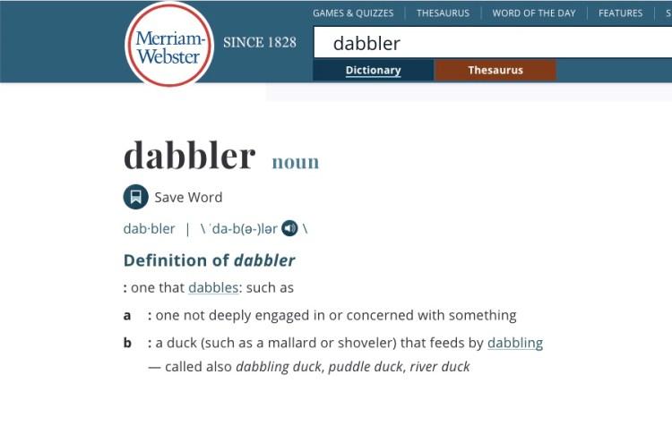 Definition of dabbler