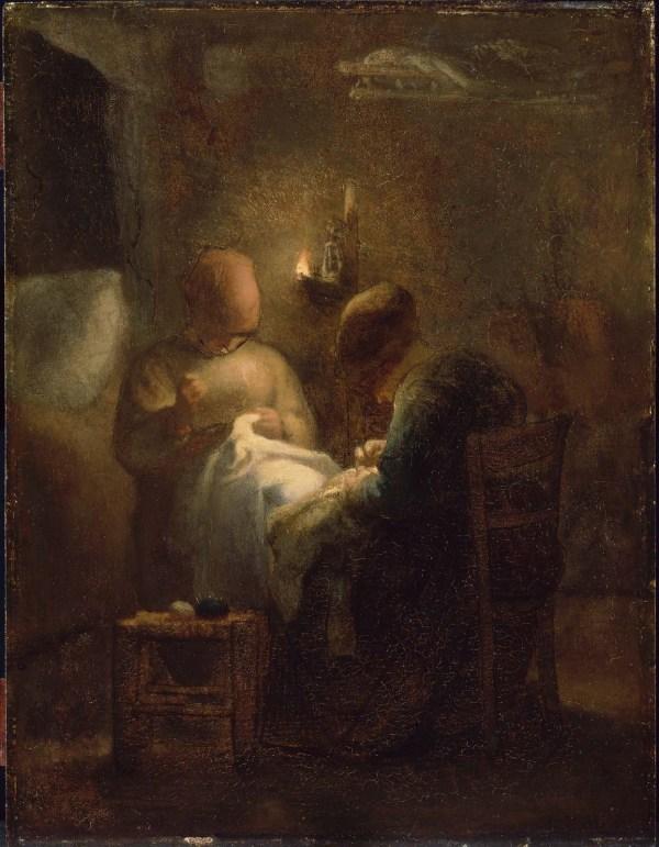 Women Sewing Lamplight La Veill Museum Of Fine