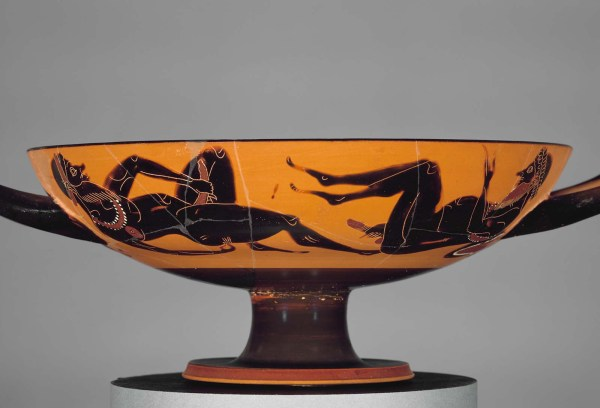 Drinking Cup Kylix Depicting Two Satyrs Museum Of Fine