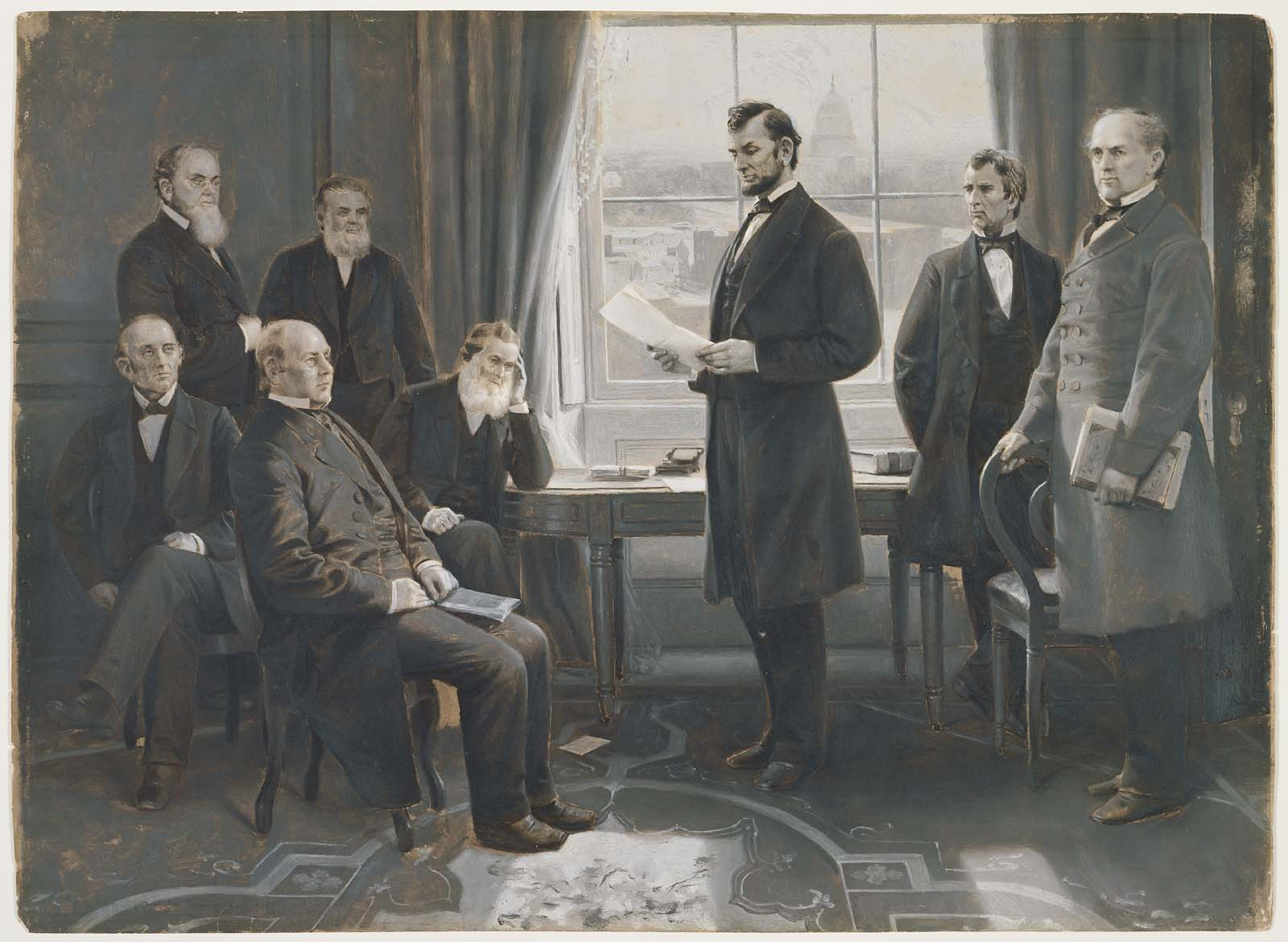 Lincoln Reading The Emancipation Proclamation To His