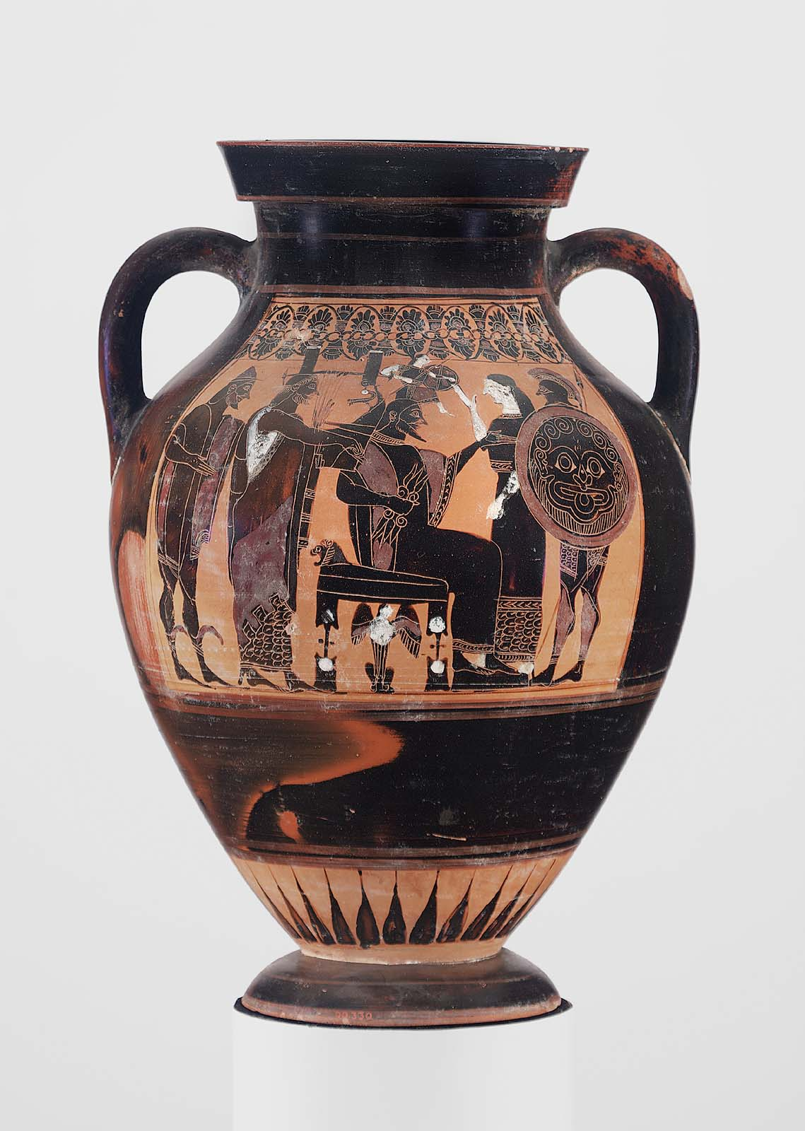 Twohandled jar amphora depicting the birth of Athena