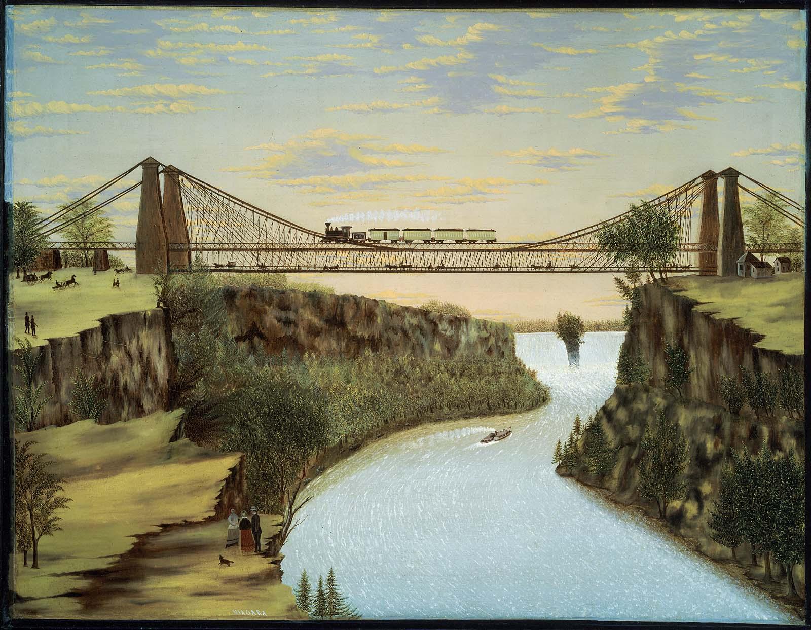 The Railroad Suspension Bridge Near Niagara Falls Museum